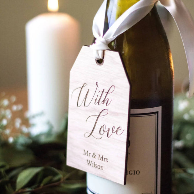 PERSONALISED RUSTIC WOODEN WINE GIFT FAVOUR TAGS