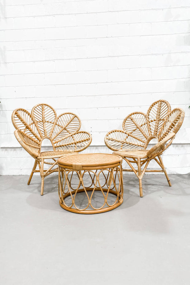 'Maya' Rattan Flower Chairs & Table