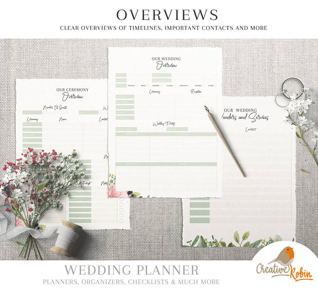 WEDDING PLANNER PDF | Wedding Organizer | Bridesmaid Planner | Bride Planner | Wedding Checklist | 135 Pages Printable Planner