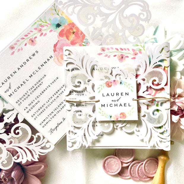 Lauren Laser Cut Rustic Boho Wedding Invitation Suite