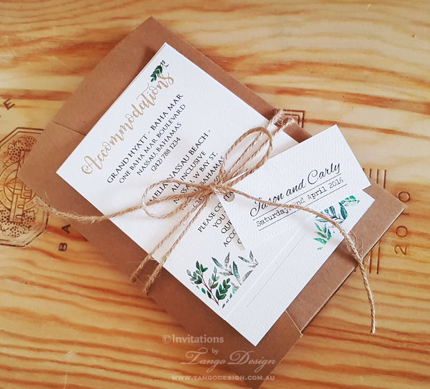 Greenery Nature Wedding Pocketfold Invitation - 5x7""
