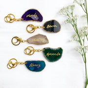 Agate Key Ring with Calligraphy