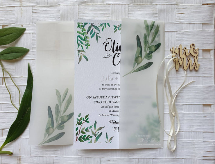 "Vellum Wrap Wedding Invitation ""Mr and Mrs"" or ""Mr and Mr"""
