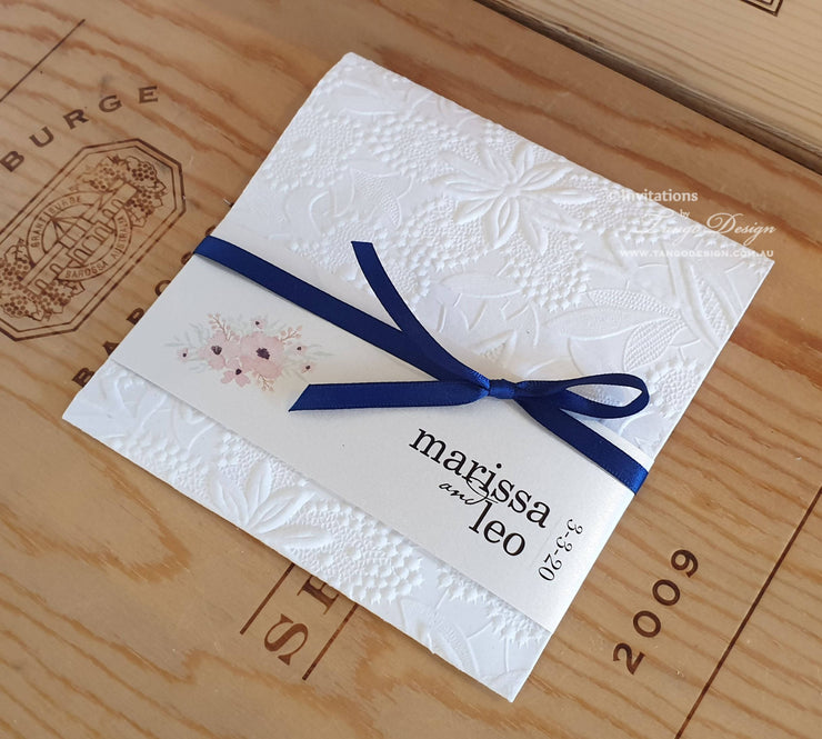 Pocket Invitation Suite: Romantic Custom Floral + Main invite Card + RSVP + Info Card