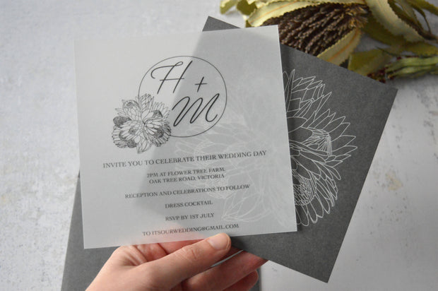 Vellum Wedding Invitation + Envelope | White Ink Printing | 140x140 | Made to Order
