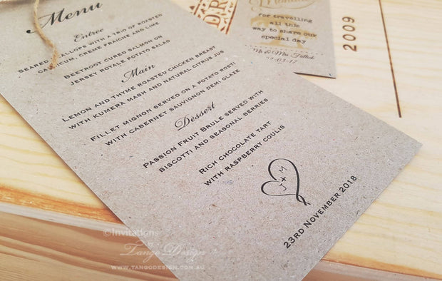 Menus for Wedding Dinner Reception