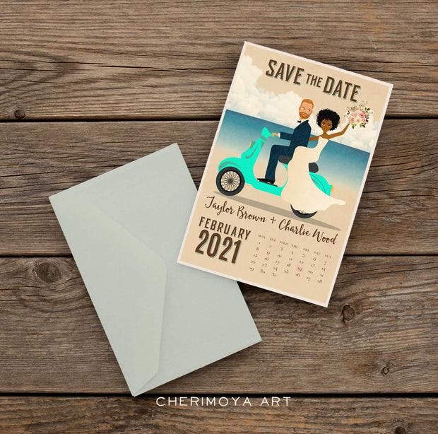 CUSTOM ILLUSTRATED SCOOTER SAVE THE DATE
