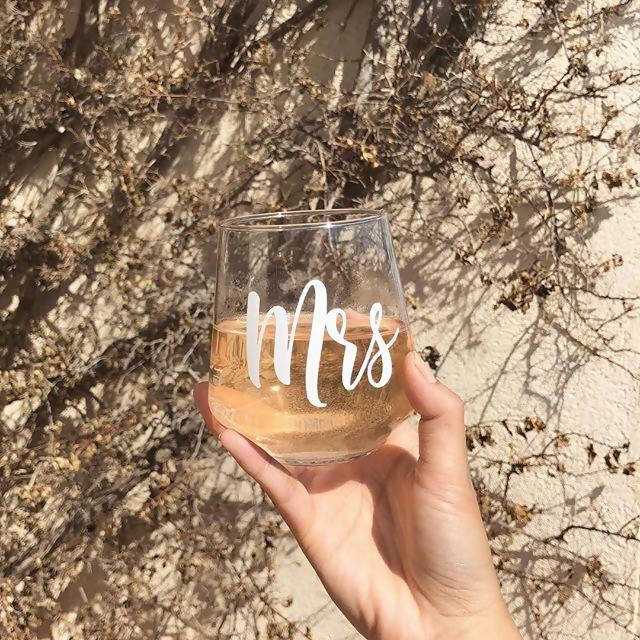 Personalised Stemless Wine Glass