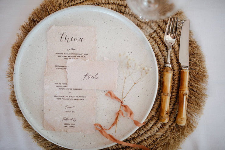 MILA | Taupe deckle edge placecard