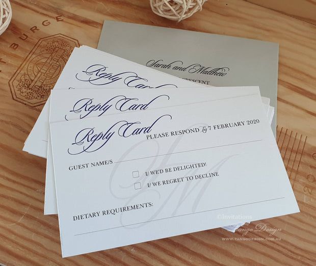 Reply Card With Printed RSVP Envelope