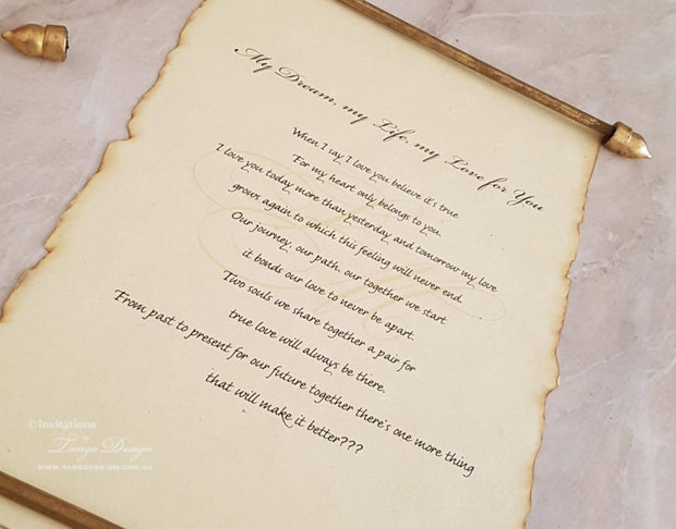Wedding Vows Keepsake Speech Scroll Wording