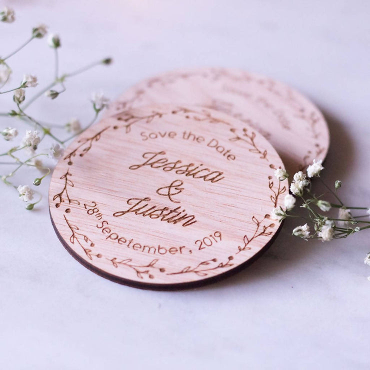 WOODEN SAVE THE DATE MAGNET | BERRY LEAF DESIGN 10 PACK