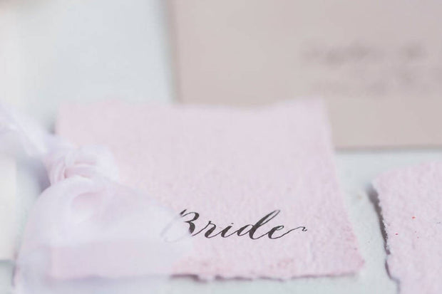 SYBIL | Pink Handmade paper place card/escort card with silk detail
