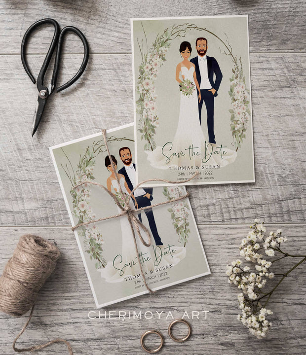 CUSTOM ILLUSTRATED BOHO SAVE THE DATE