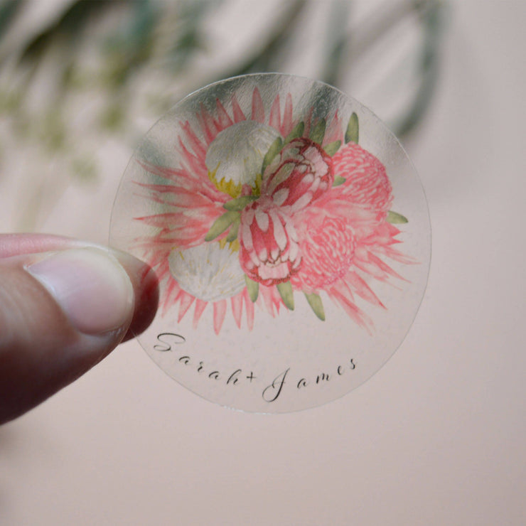 Clear Sticker Seal for Wedding Invitations - Personalised | Made to Order