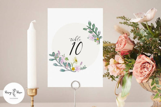 Table Numbers - Wildflowers