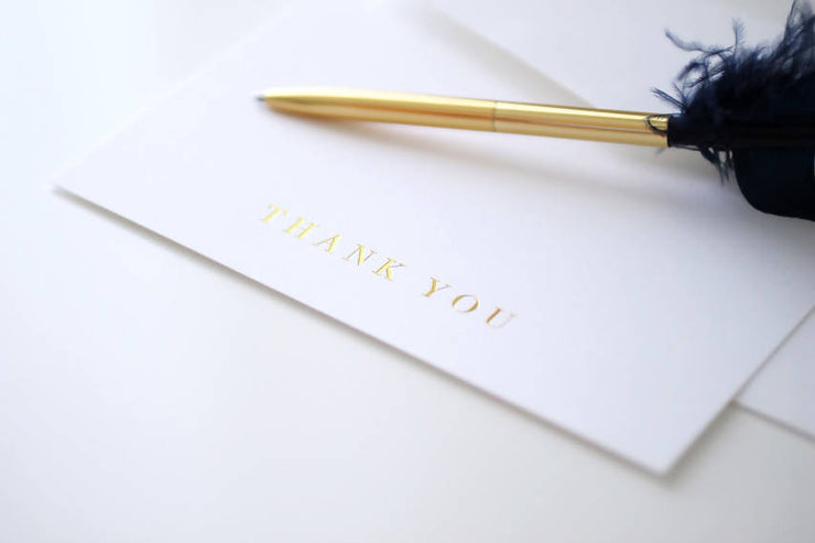 BLANK GOLD FOILED THANK YOU CARDS