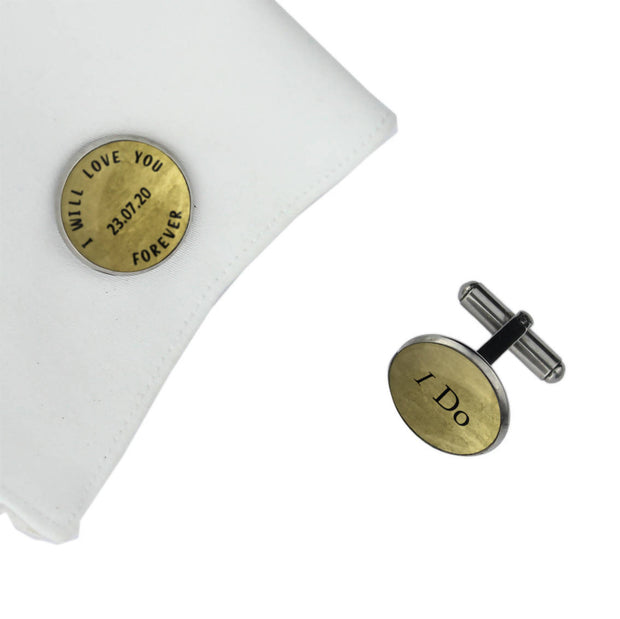 I WILL LOVE YOU FOREVER with I DO and Date, Wedding Gift, Personalised cufflinks, customised cufflinks, MFY68