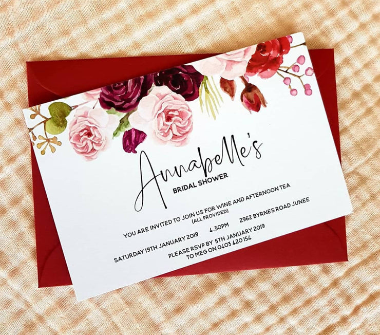 Floral Bridal Party Invitations