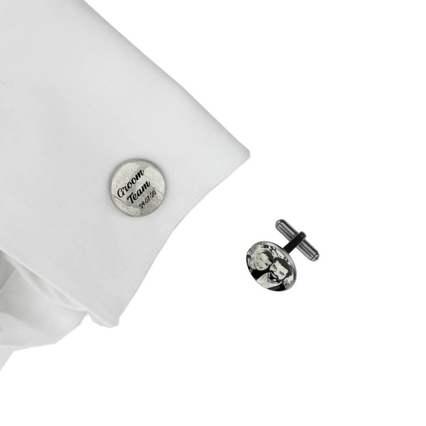 Groom Team with Date and Photo, Wedding Gift, Personalised cufflinks, customised cufflinks, MFY78