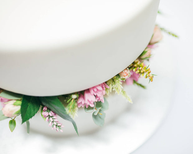 Fondant Wrapped 2 tier Cake w Flowers In-between