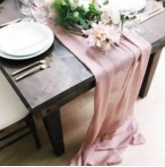 Dusky Rose Silk Chiffon Runner | 5m