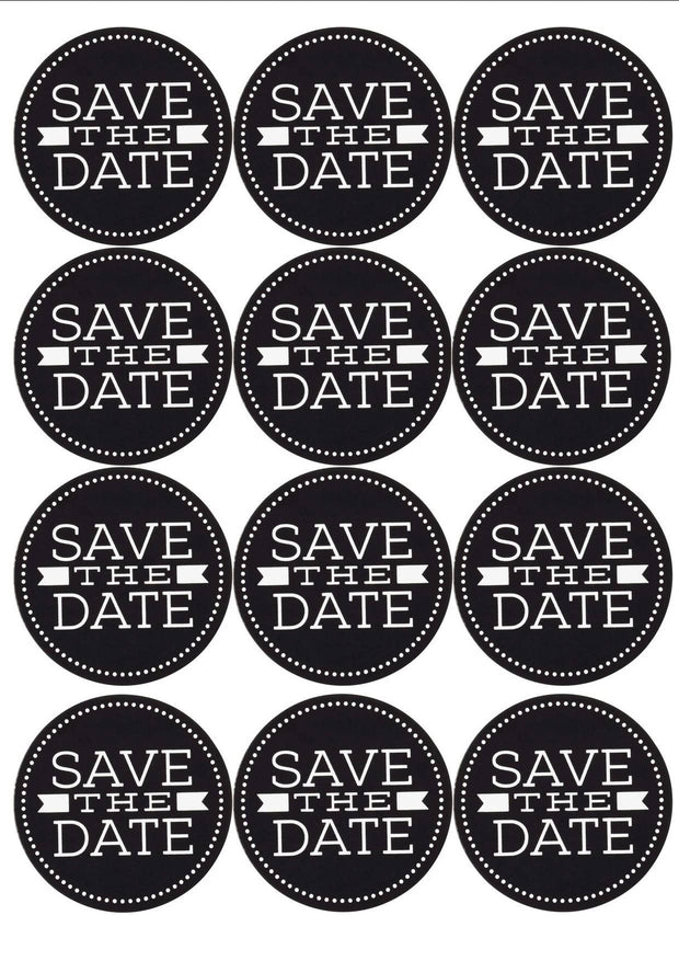 BLACK AND WHITE SAVE THE DATE STICKERS