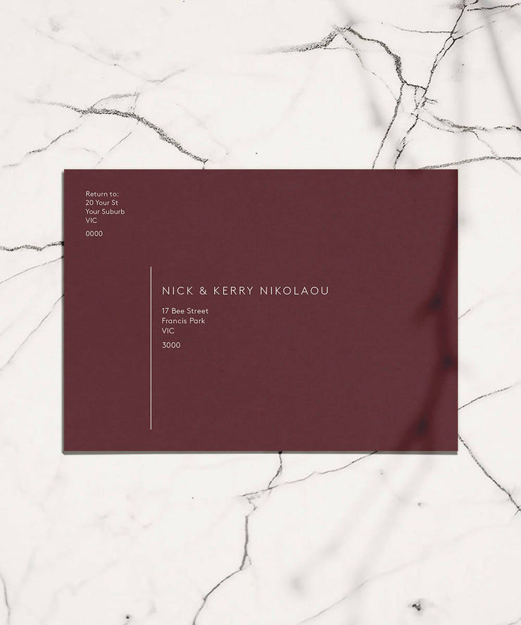 Coloured Invitation Envelope + White Ink