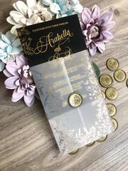 Arabella Vellum Wax Seal Gold Foil Wedding Invitation in Black