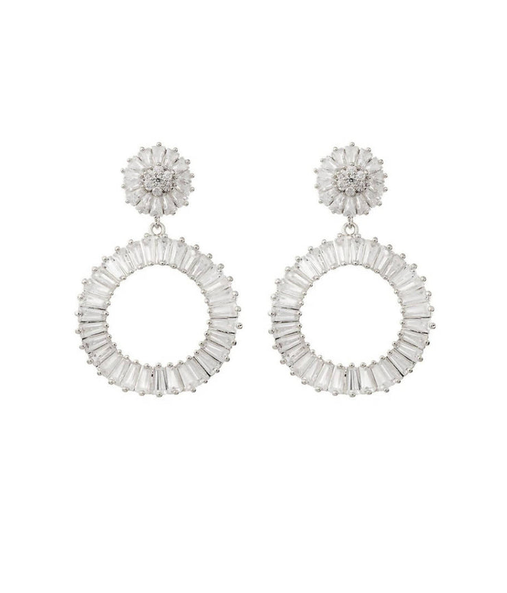 WILLOW - WHITE GOLD DIAMOND STATEMENT HOOP WEDDING EARRINGS