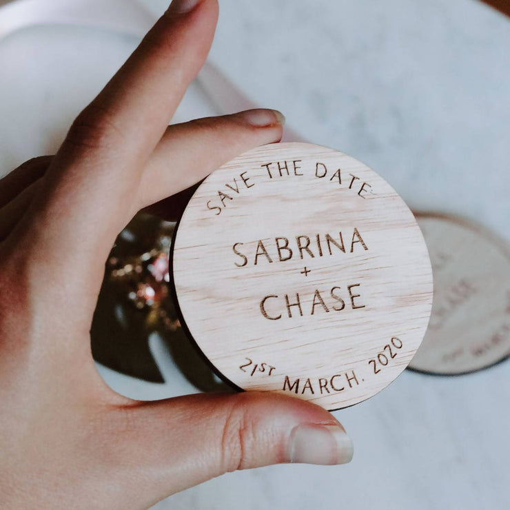 RUSTIC WOODEN SAVE THE DATE MAGNET | MARKET STYLE DESIGN 10 PACK