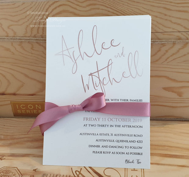 Modern Script Wedding Invitation with Ribbon