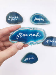 Agate Slice Place Cards with Calligraphy
