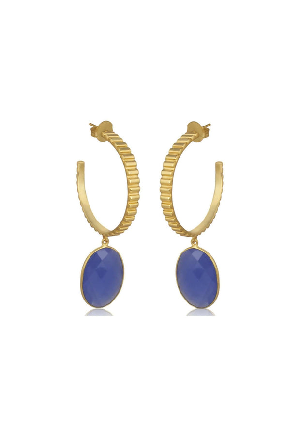 GIGI - BLUE HOOP BRIDESMAID EARRINGS - GOLD