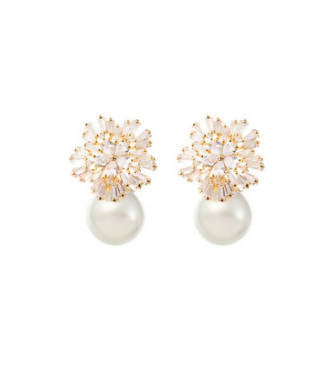 ST CLAIR - 18K GOLD STARBURST PEARL DROP EARRINGS