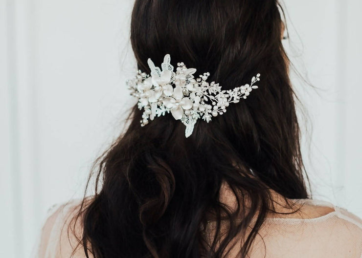 DELILAH PEARL AND LACE BRIDAL HEADPIECE