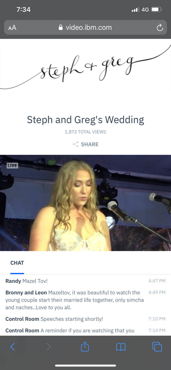 Wedding Webcast: 2 x Cameras, Whole Wedding (1 day)