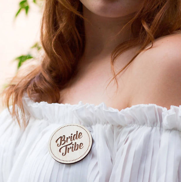 BRIDE TRIBE WOODEN BADGES | HENS NIGHT BADGES