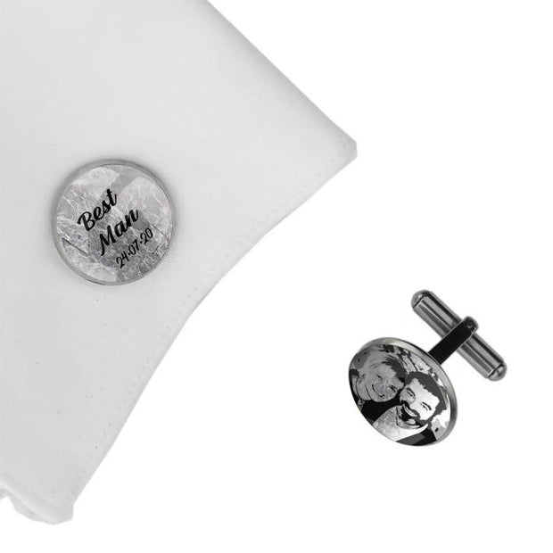 Best man with Date and Photo, Wedding Gift, Personalised cufflinks, customised cufflinks, MFY64