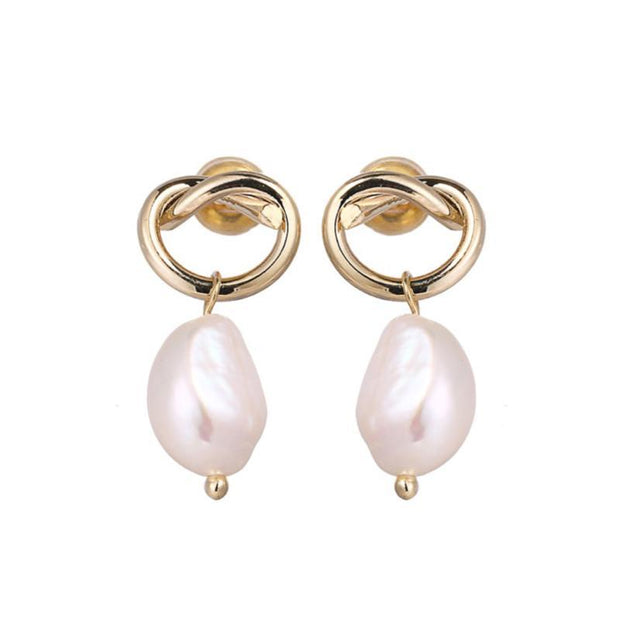 14K Gold Plated - Mona Pearl Earrings