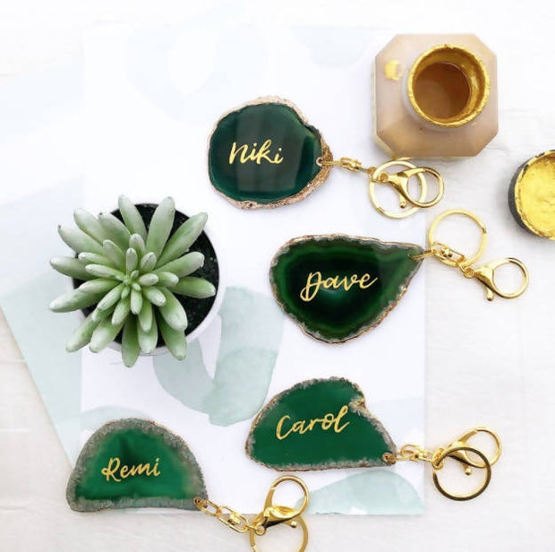 Green Agate Key Ring with Calligraphy