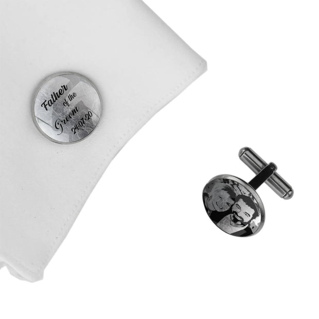 Father of the Groom with Date and Photo, Wedding Gift, Personalised cufflinks, customised cufflinks, MFY40