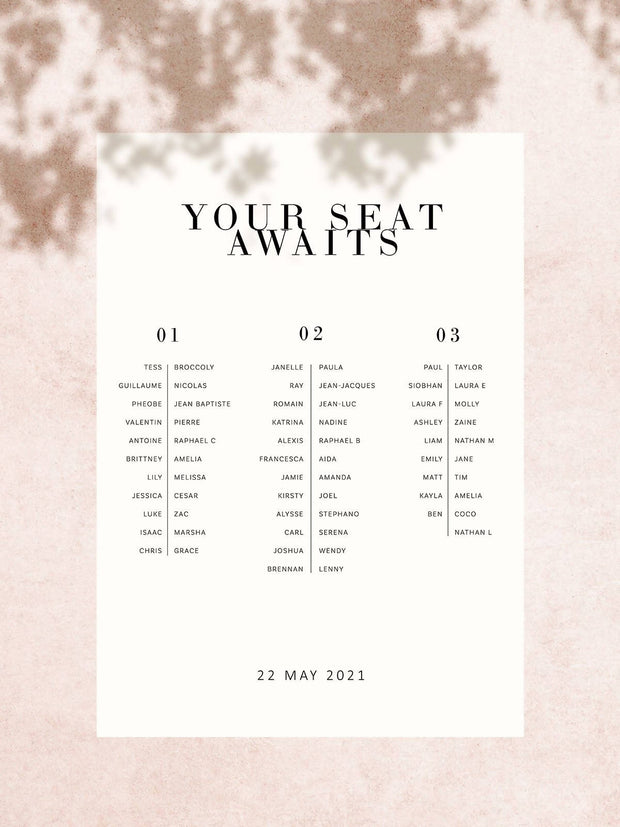 Vogue Seating Chart