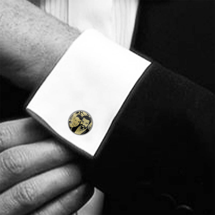 Personalised Cufflinks With Photo, Names and Date
