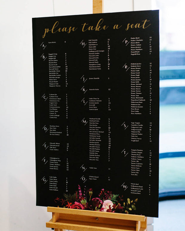 Seating Chart with Gold Foil Heading