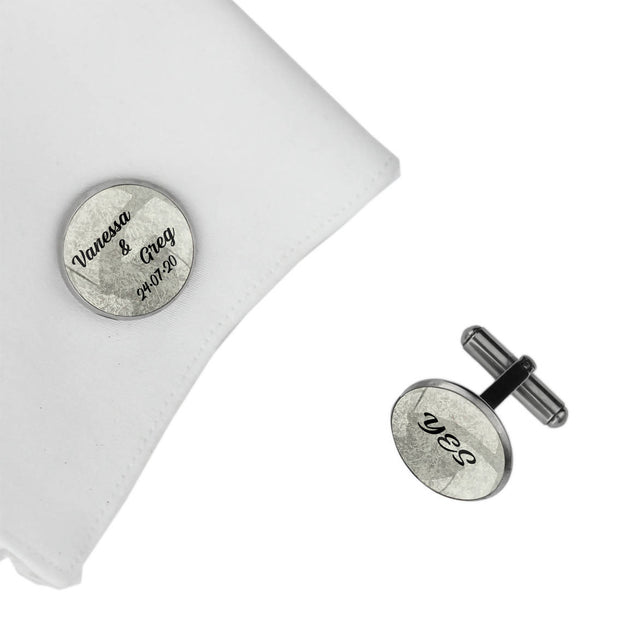 YES and Names and Date, Wedding Gift, Personalised cufflinks, customised cufflinks, MFY71