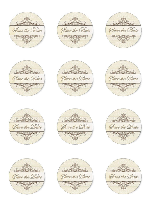 PERSONALISED CREAM SAVE THE DATE STICKERS