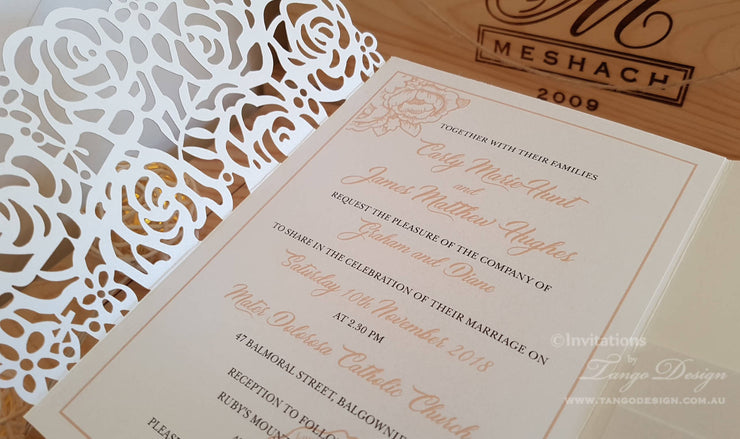 Laser cut Pocketfold Wedding Invitation SET + RSVP Postcard - 5x7 Australia