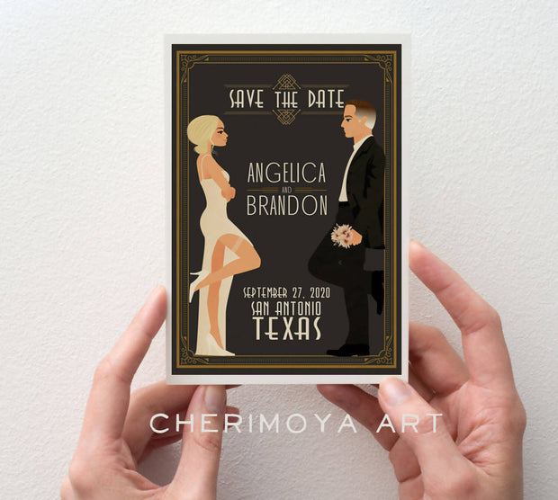 CUSTOM ART DECO ILLUSTRATED SAVE THE DATE