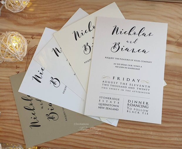 Vellum Typography Wedding Invitation Card Digital Printing